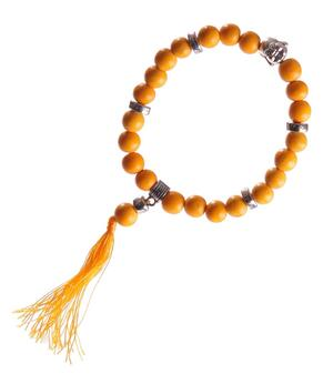 Stretchy Wrist Mala BRACELET - Buddha Face, Orange