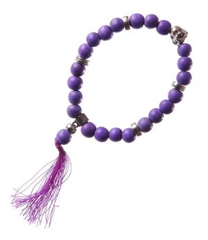 Stretchy Wrist Mala BRACELET - Buddha Face, Purple