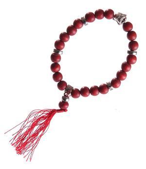 Stretchy Wrist Mala BRACELET - Buddha Face, Red