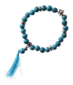 Stretchy Wrist Mala BRACELET - Buddha Face, Turquoise