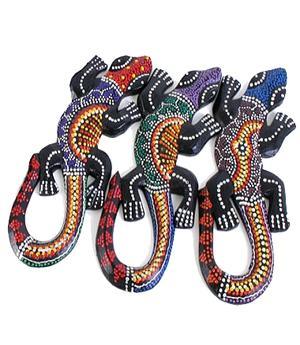 Wooden Aborigine Gecko - Multicolor 30cm