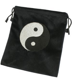 Tarot Card Bag - Black Velvet with Yin & Yang