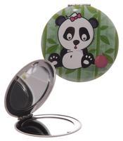 Round Compact Mirror - Dark Green Panda