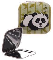 Square Compact Mirror - Light Green Panda