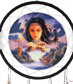 Medicine Shield - Native American Waterfall by Lisa Parker 60cm