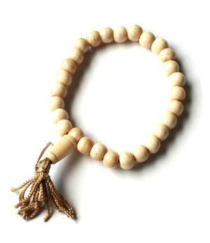 Buddhist Stretchy Wrist Mala BRACELET - Bone White