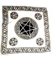 Tarot Cloth Bandana Scarf - Pentagram, white 100x100cm