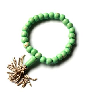 Buddhist Stretchy Wrist Mala BRACELET - Bone Turquoise