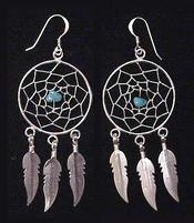Native American Navajo Jewelry - Silver Dreamcatcher Earrings 30mm