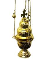 Charcoal Burner - Thurible Hanging Brass Cross Censer with Bells, Golden