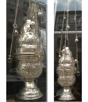 Charcoal Burner - Thurible Hanging Brass Cross Censer with Bells, Silvery