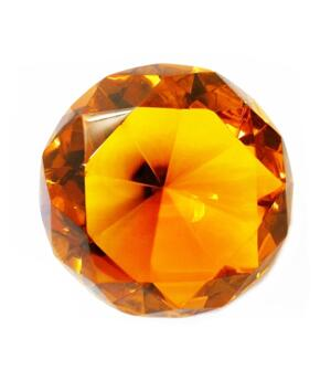 Glass Crystal Diamond - Paperweight in Organza Bag, Amber 40x25mm