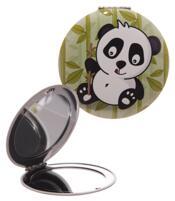 Round Compact Mirror - Light Green Panda